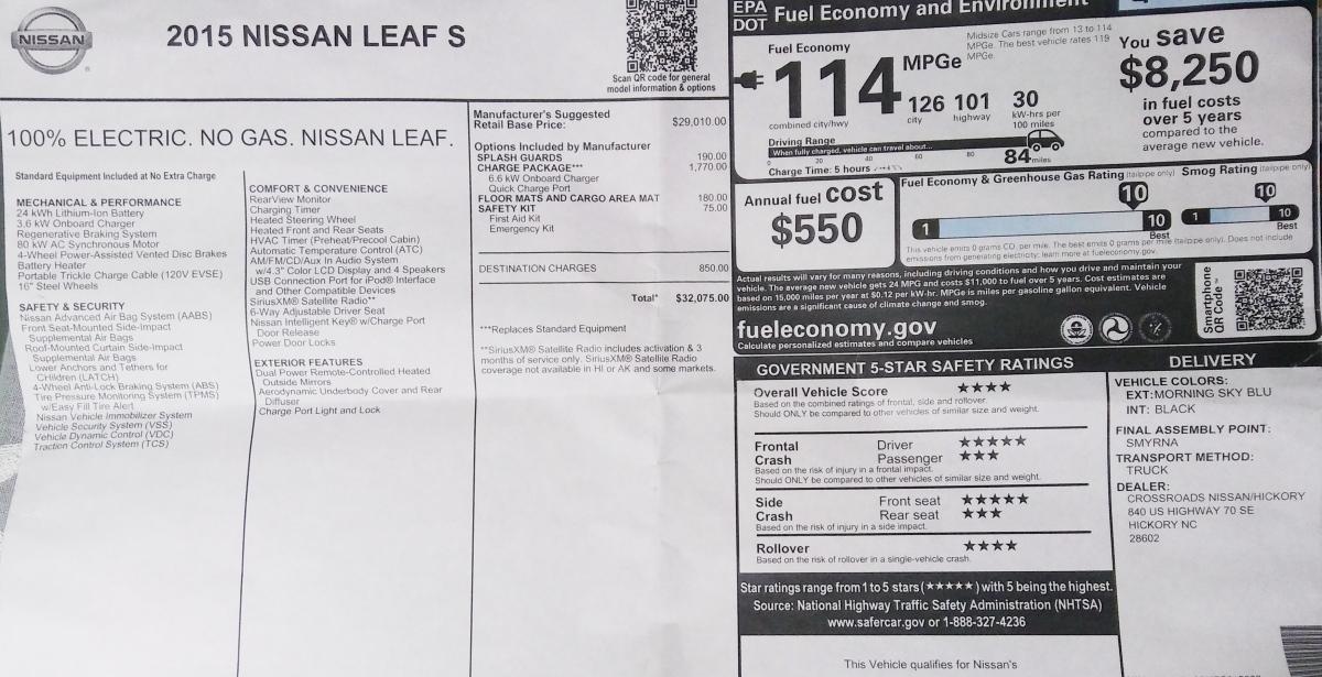 20170321_055638 2015 Nissan Leaf milage report
